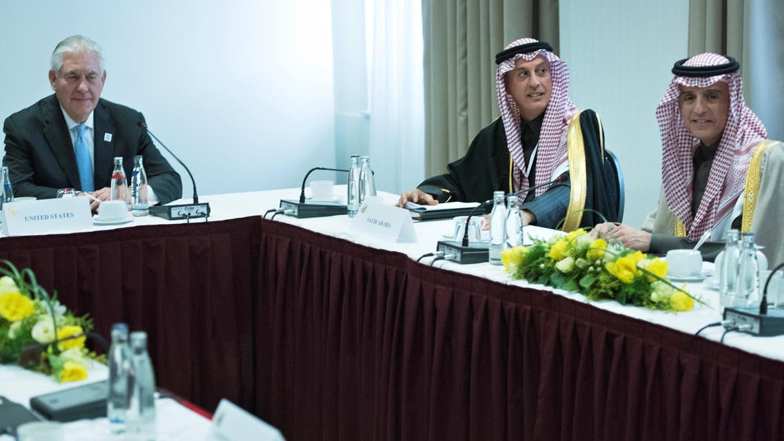 US Secretary of State Rex Tillerson (L) and Saudi Arabia's Foreign Minister Adel bin Ahmed Al-Jubeir (R) sit after a meeting about Yemen at the Steigenberger Hotel in Bad Neuenahr, near Bonn, Germany, February 16, 2017.