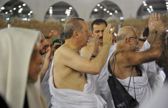 Erdogan performing the tawaf. (SPA)