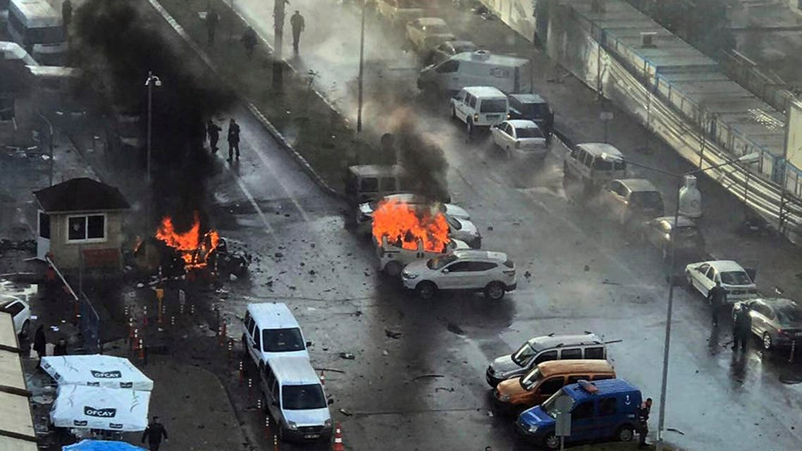 In this Jan. 5, 2017 file photo, cars burn after a car bomb explosion in Izmir, Turkey. (AP)