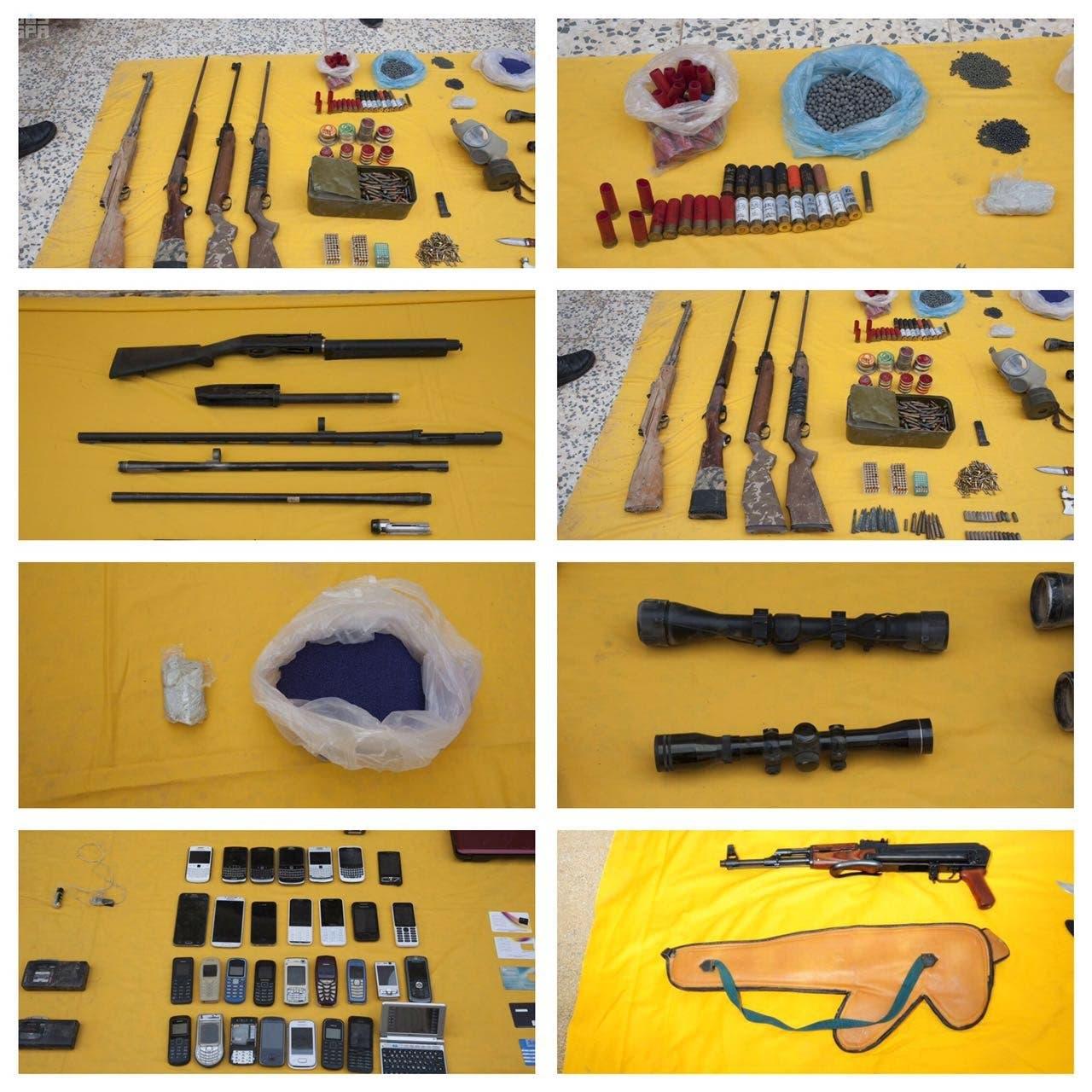الأسلحة التي تم ضبطها مع الخلية التي تم تفكيكها الخميس بالسعودية