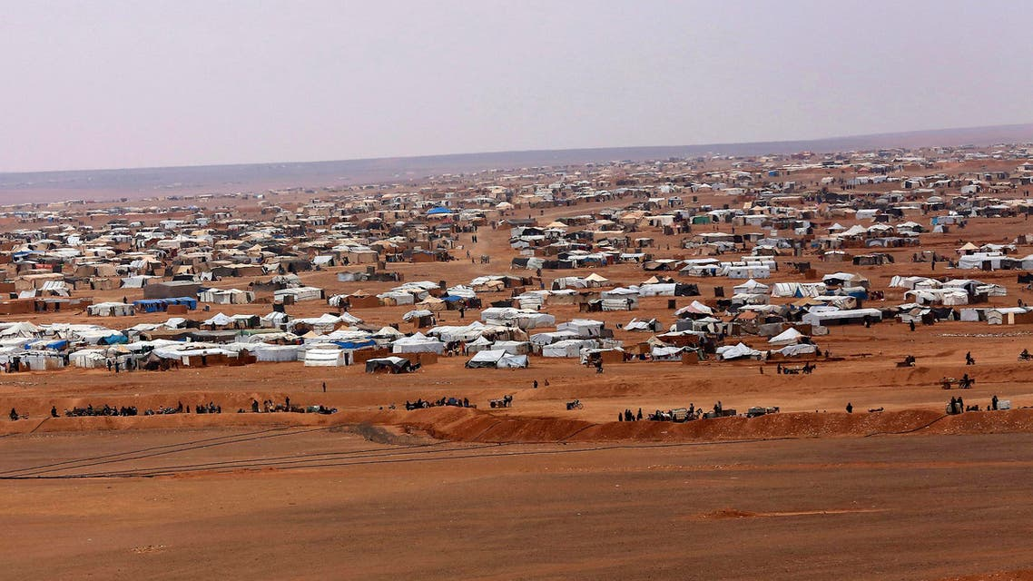 This picture taken Tuesday, Feb. 14, 2017, shows an ariel view of the informal Rukban camp, between the Jordan and Syria borders. (AP)