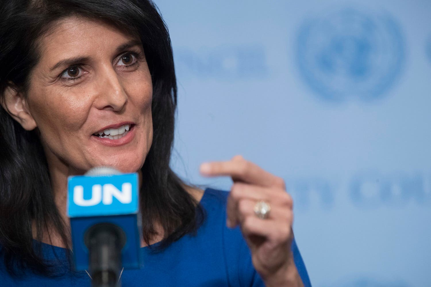 Nikki Haley speaks to reporters after a Security Council meeting on the situation in the Middle East, Thursday, Feb. 16, 2017 at UN headquarters. (AP)