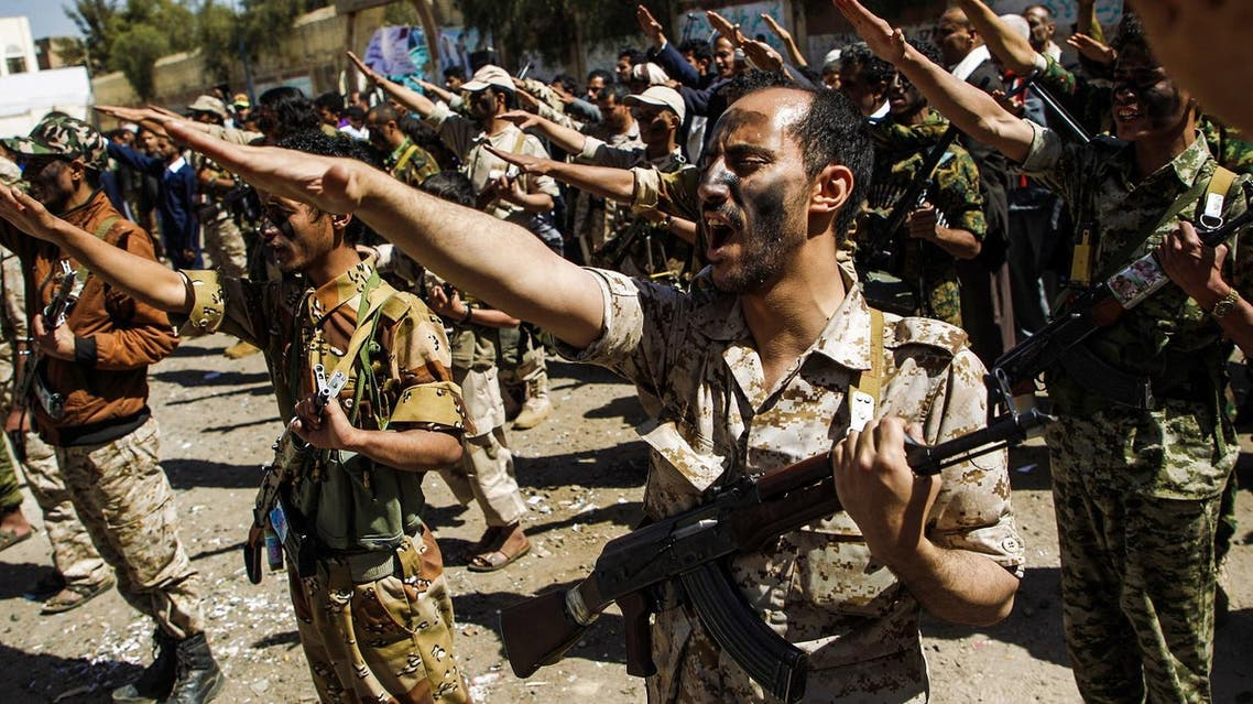 Newly recruited Houthi fighters chant slogans during a gathering in the capital Sanaa to mobilize more fighters to battlefronts to fight pro-government forces in several Yemeni cities, on February 2, 2017. MOHAMMED HUWAIS / AFP