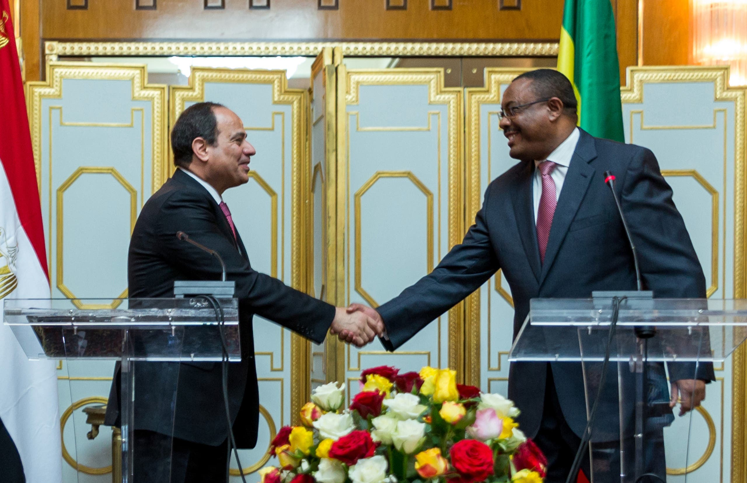 Egyptian president Fattah al-Sisi, left, and Ethiopian prime minister Hilemariam Desalegn, right, shake hands after the press conference at The National Palace Tuesday, March 24, 2015 in Addis Ababa Ethiopia. (Reuters)
