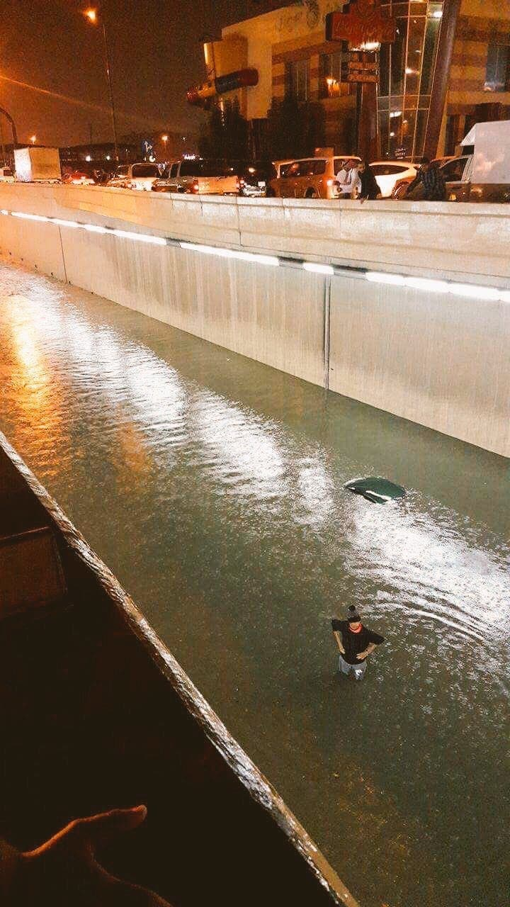 Submerged cars were left stuck inside tunnels and areas clogged with rain. (Supplied)