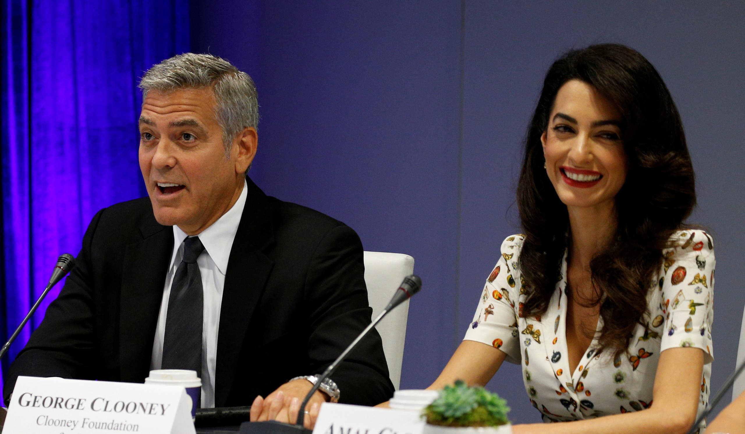 جورج وأمل كلوني خلال اجتماع في الأمم المتحدة في سبتمبر الماضي