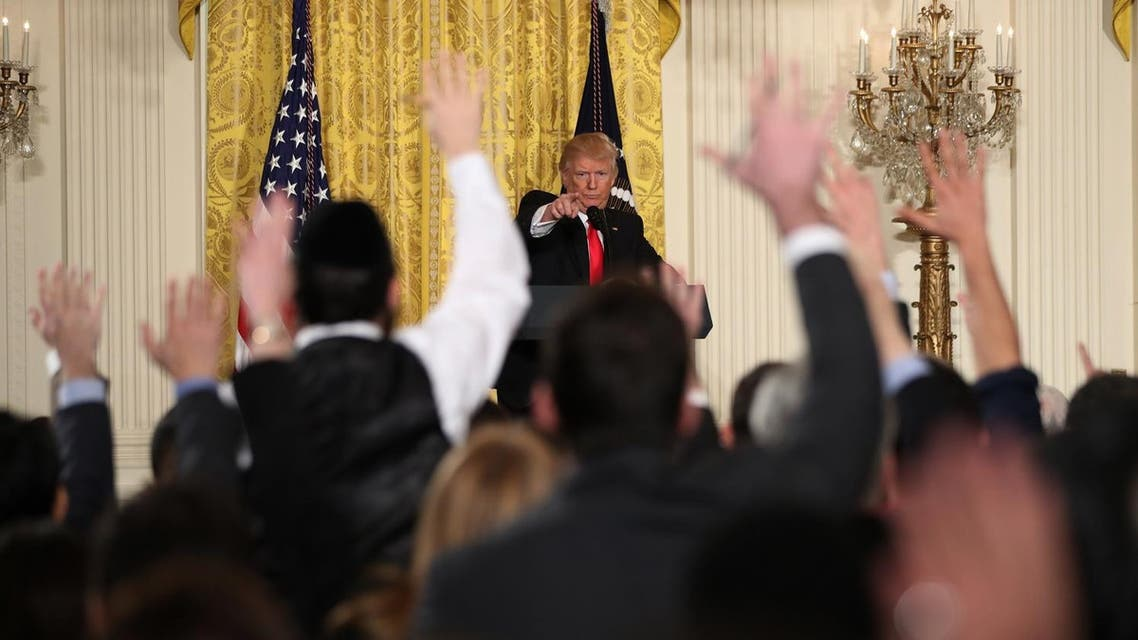 President Donald Trump calls on a reporter during a news conference, Thursday, Feb. 16, 2017, in the East Room of the White House in Washington. (Photo: AP/Andrew Harnik)