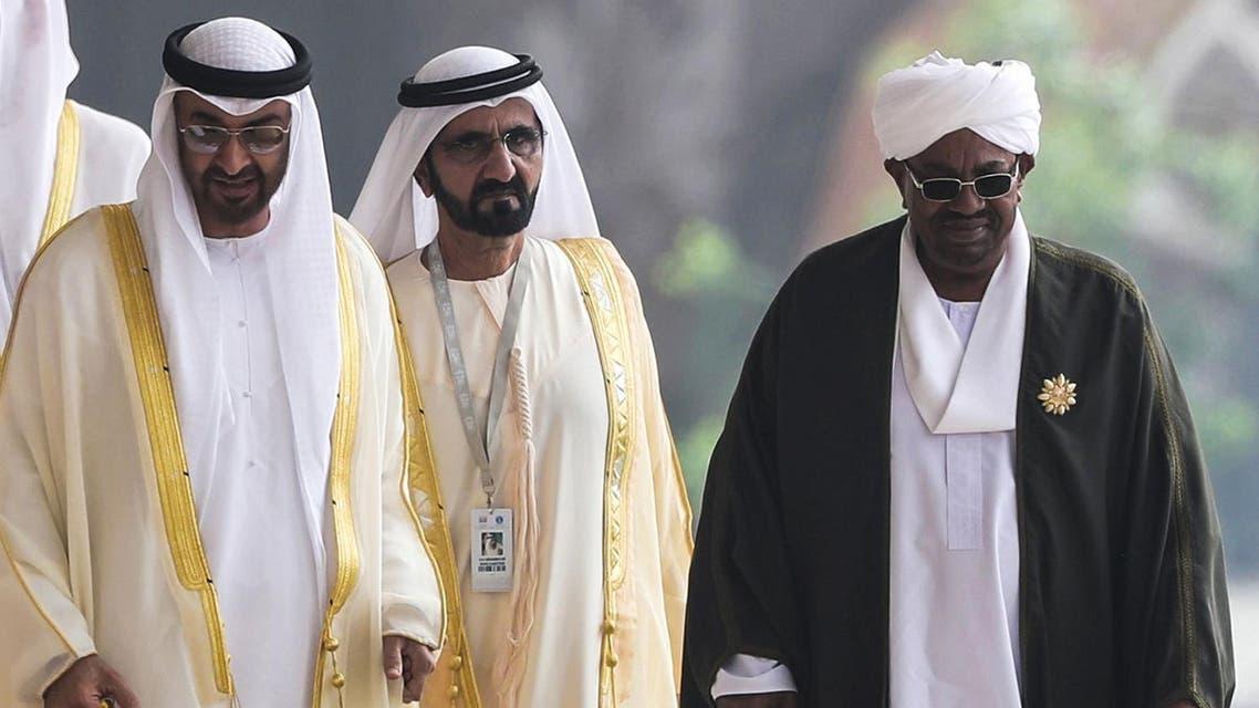 Al-Bashir with UAE rulers. (AFP)