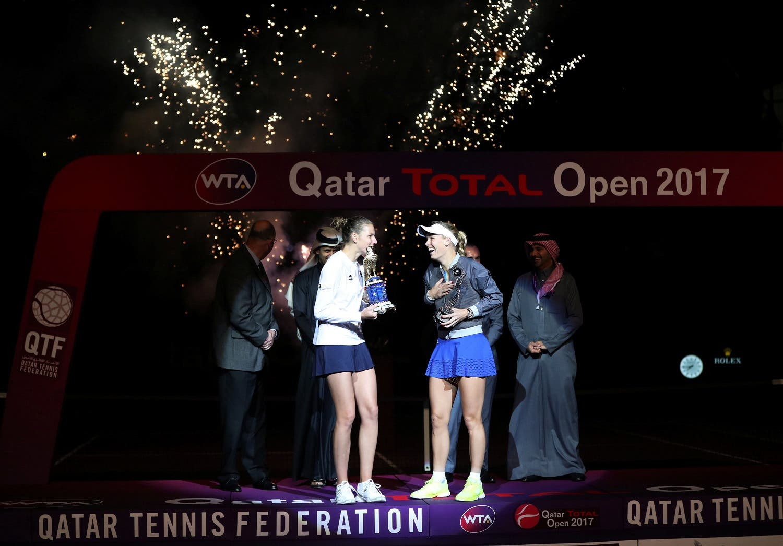 Tennis - Qatar Open - Women's Singles - Final Match - Karolina Pliskova of the Czech Republic v Caroline Wozniacki of Denmark reuters
