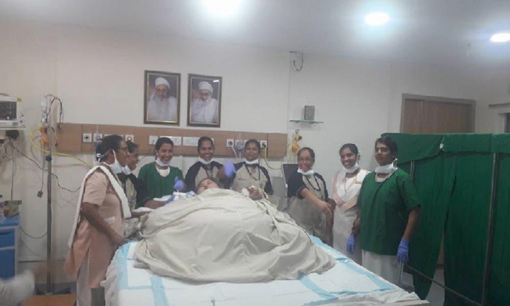 Eman Ahmed Abdelaty in her room at Saifee Hospital in Mumbai. (Supplied)