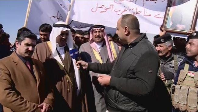العشائر العربية تتظاهر ضد مشاركة الحشد في معركة الموصل