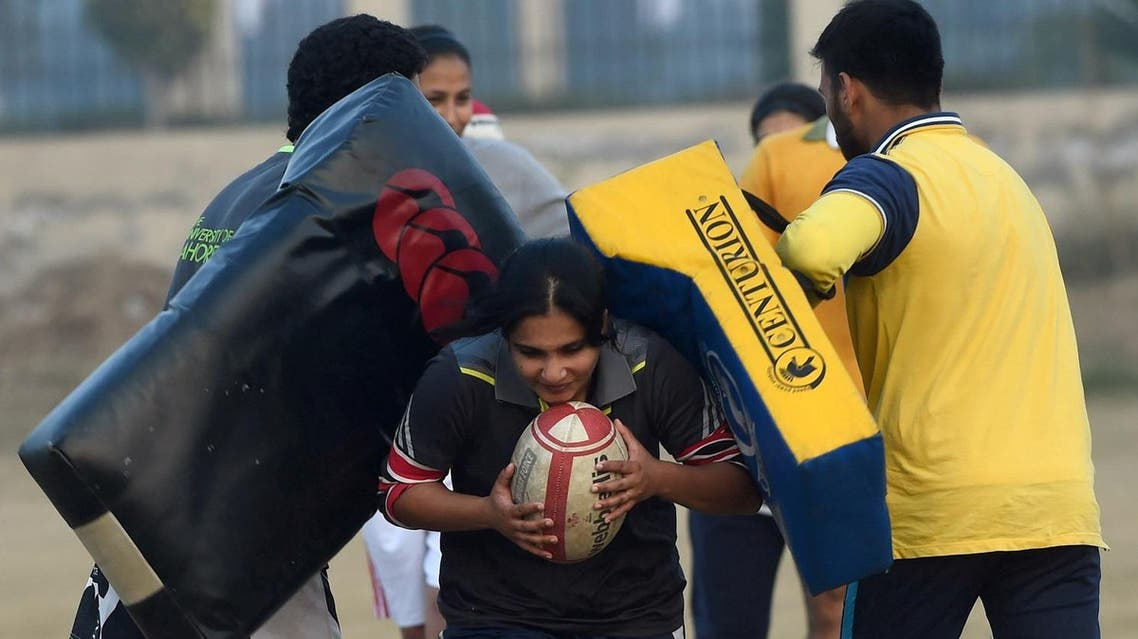 In this photograph taken on January 18, 2017, Pakistani rugby players take part in a practice session in Lahore (File Photo: Arif Ali/AFP)