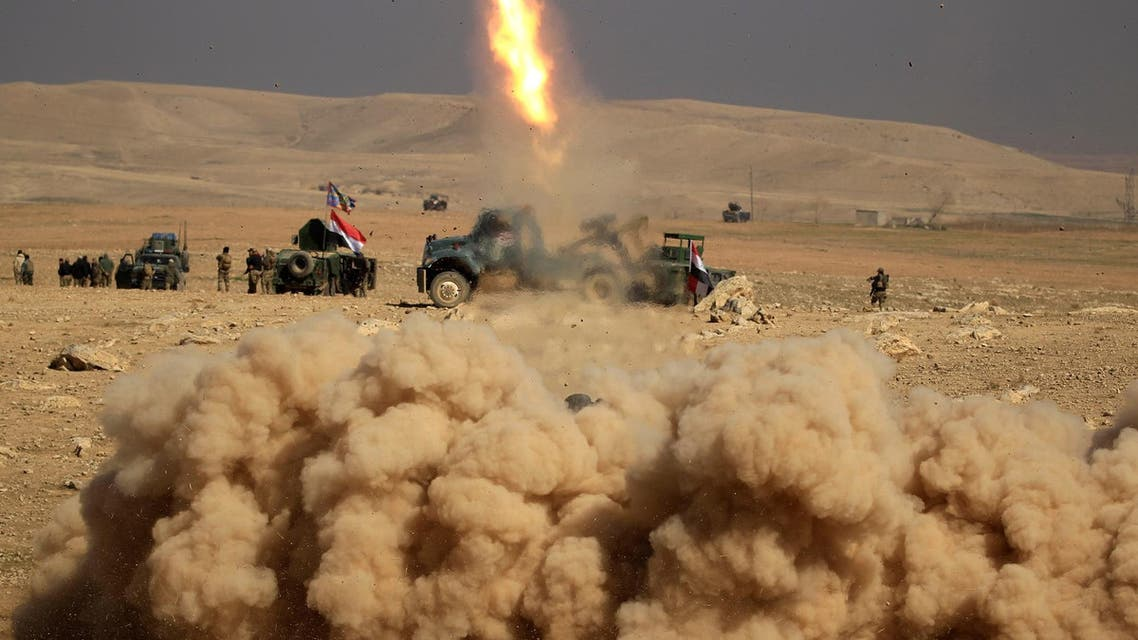 Members of the Iraqi rapid response forces fire a missile toward Islamic State militants during a battle in the south of Mosul, Iraq February 19, 2017. (Reuters)
