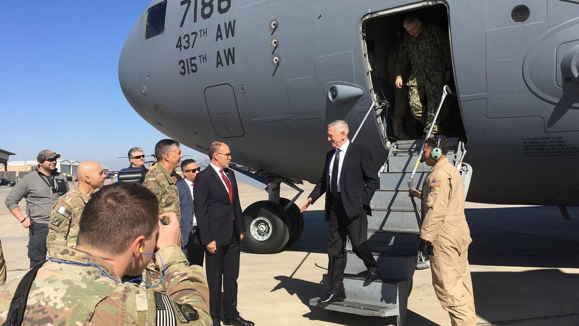 U.S. Secretary of Defense Jim Mattis, second from left, is greeted by U.S. Ambassador Douglas Silliman as he arrives at Baghdad International Airport, Iraq, on an unannounced trip Monday, Feb. 20, 2017. (Reuters)