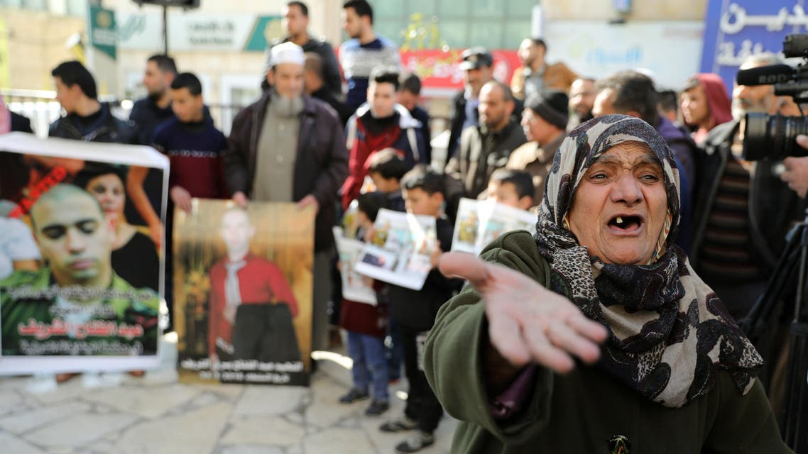 A Palestinian woman reacts during a protest following the sentencing of Israeli soldier Elor Azaria, in the West Bank City of Hebron February 21, 2017. reuters