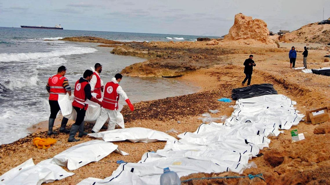 This Monday, Feb. 20, 2017 photo provided by The International Federation of Red Cross and Red Crescent Societies (IFRC), shows the bodies of people that washed ashore and were recovered by the Libyan Red Crescent, near Zawiya, Libya. (AP)