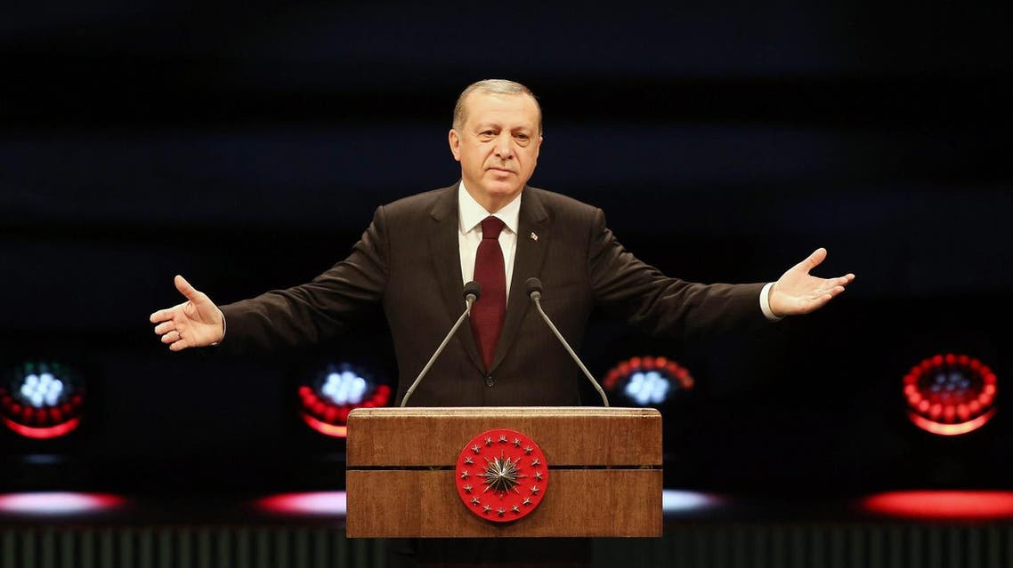 Turkish president Recep Tayyip Erdogan delivers a speech at the Presidential Complex in Ankara, on January 17, 2017. AFP