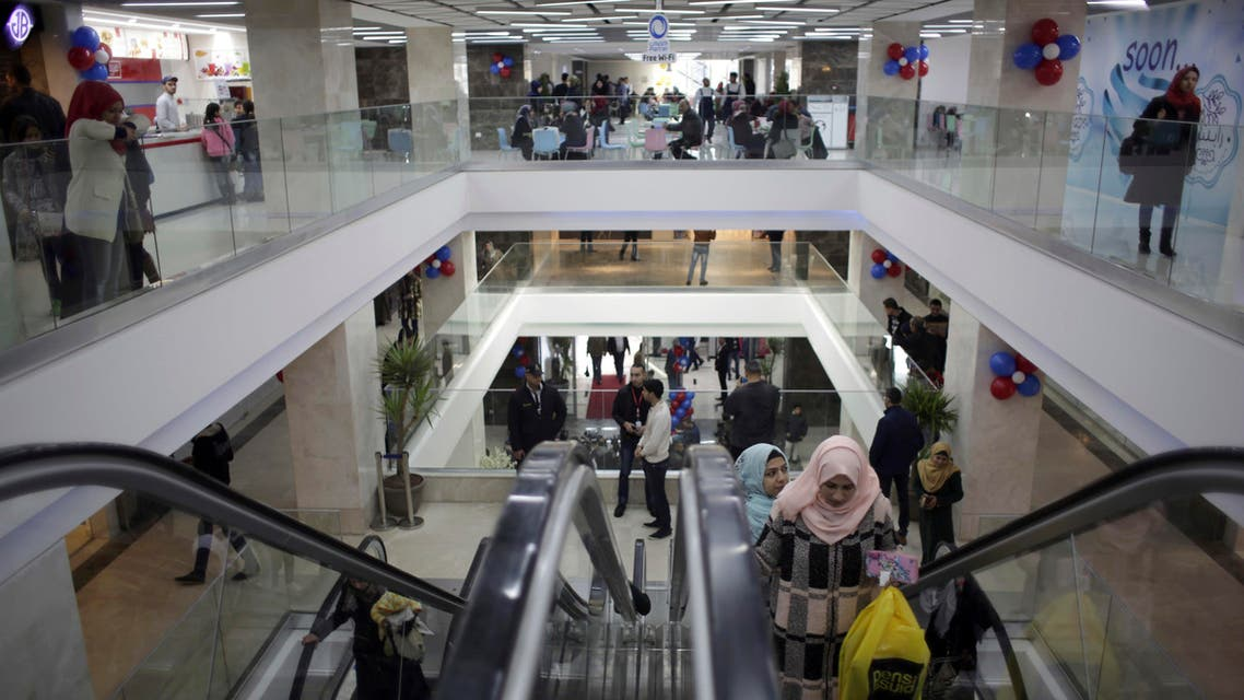 Palestinians shop in the first indoor shopping mall in the Gaza Strip, in Gaza City. (AP)