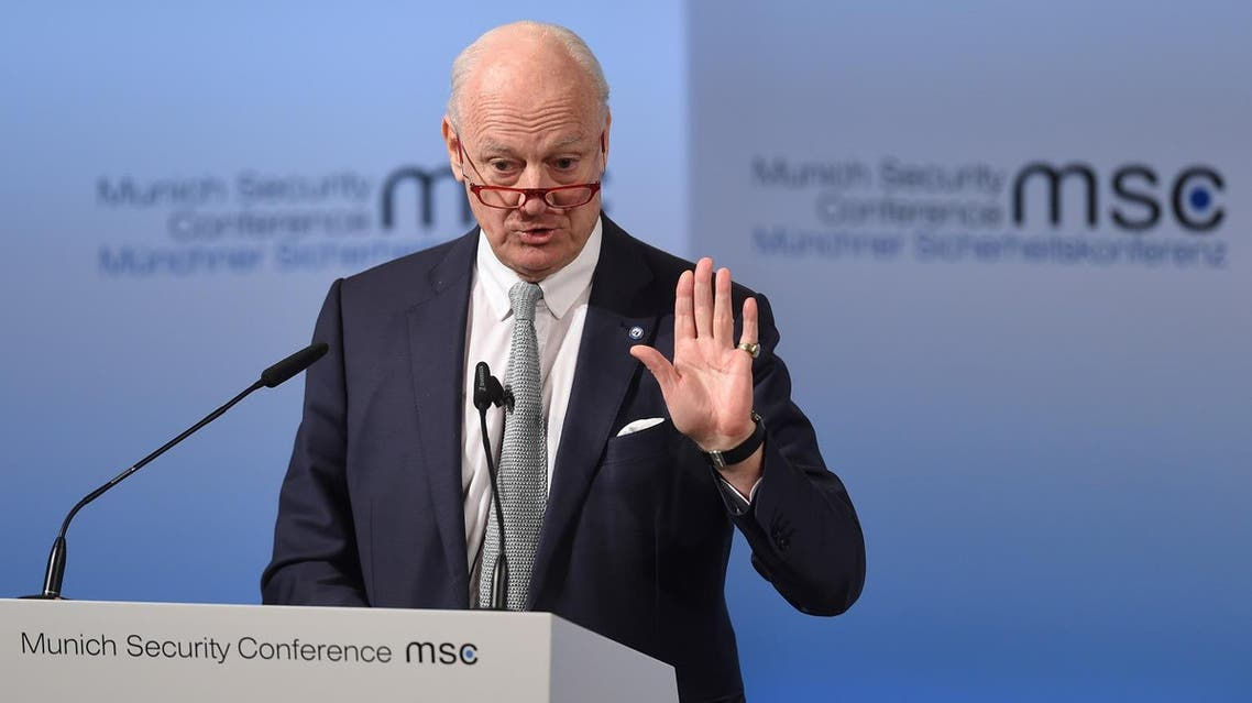 UN Special Envoy for Syria Staffan de Mistura delivers a speech at the third day of the 53rd Munich Security Conference (MSC) at the Bayerischer Hof hotel in Munich, southern Germany, on February 19, 2017. (AFP)