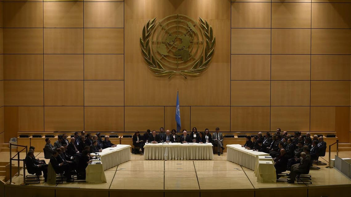 UN Syria envoy Staffan de Mistura (C) welcomes those who accepted his invitation to be in Geneva, on the first day of a new round of Syria peace talks on February 23, 2017 in Geneva. (AFP)