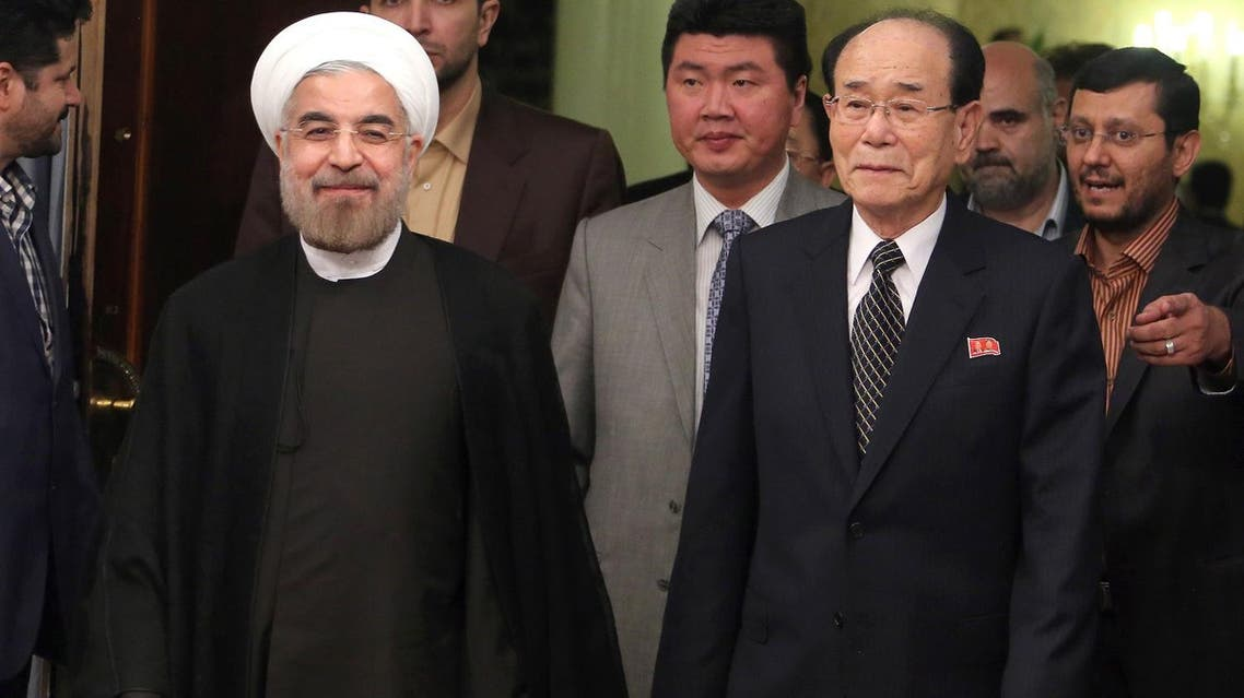President Hassan Rowhani welcomes North Korea's ceremonial head of state, Kim Yong-Nam, on his first official day in office in Tehran on August 3, 2013. (File photo: AFP)