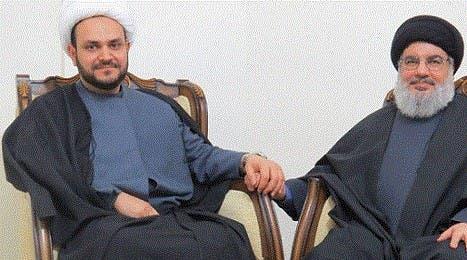 زعيم ميليشيا النجباء أكرم الكعبي وحسن نصرالله زعيم ميليشيا حزب الله