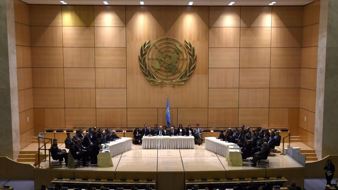 UN Syria envoy Staffan de Mistura (C) welcomes the delegations at the opening of a new round of Syria peace talks on February 23, 2017 in Geneva. AFP