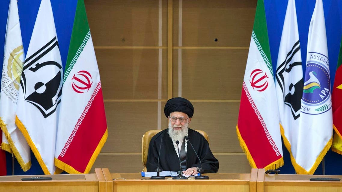 """Iran's supreme leader Ayatollah Ali Khamenei delivers a speech at a conference titled """"international conference in support of Palestinian Intifada"""" in Tehran, Iran, Tuesday, Feb. 21, 2017. Iran's supreme leader has used the podium of a pro-Palestinian gathering in Tehran to call Israel a """"fake"""" nation and a """"dirty chapter"""" of history. (AP)"""