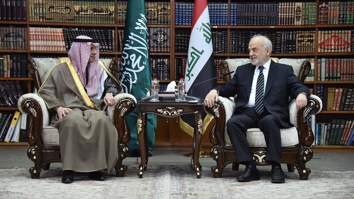 Al-Jubeir held talks in Baghdad with Iraq's leadership, the first such visit by a chief diplomat from the kingdom since 2003. (AFP/HO/IRAQI FOREIGN MINISTRY PRESS OFFICE)