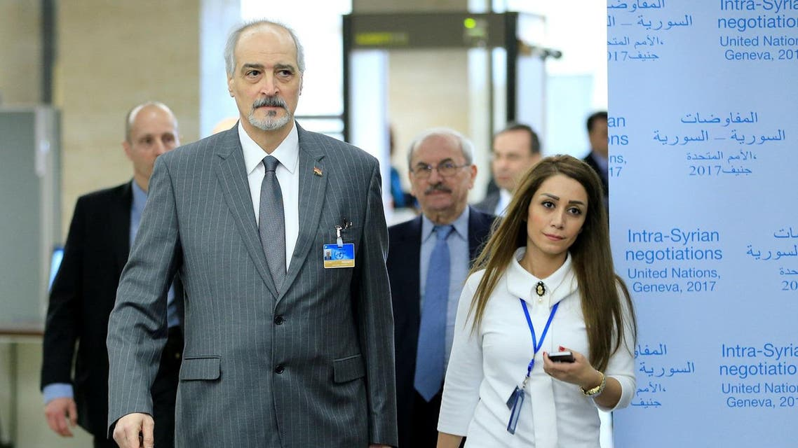 Syrian Ambassador to the U.N. Bashar al Jaafari arrives for a meeting of Intra-Syria peace talks with UN Special Envoy for Syria Staffan de Mistura at Palais des Nations in Geneva. (Reuters)