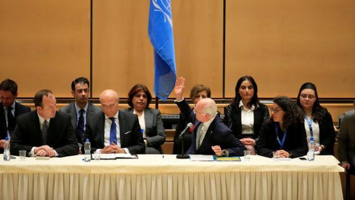 دي ميستورا خلال القاء كلمته الافتتاحية في جنيف 4 يوم الخميس 23 فبراير