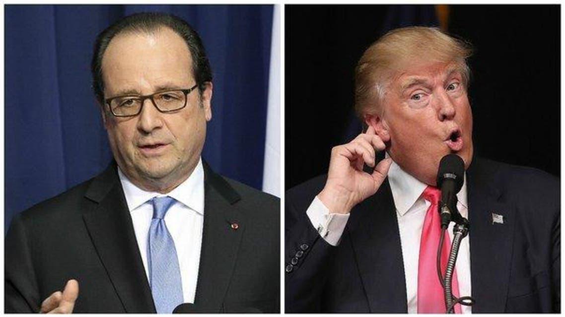 الرئيس الفرنسي فرنسوا هولاند ونظيره الأميركي دونالد ترمب