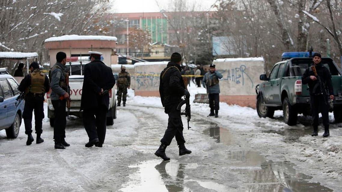 Security personnel stand guard at the site of a suicide attack on the Supreme Court in Kabul, Afghanistan, Tuesday, Feb. 7, 2017. (AP)