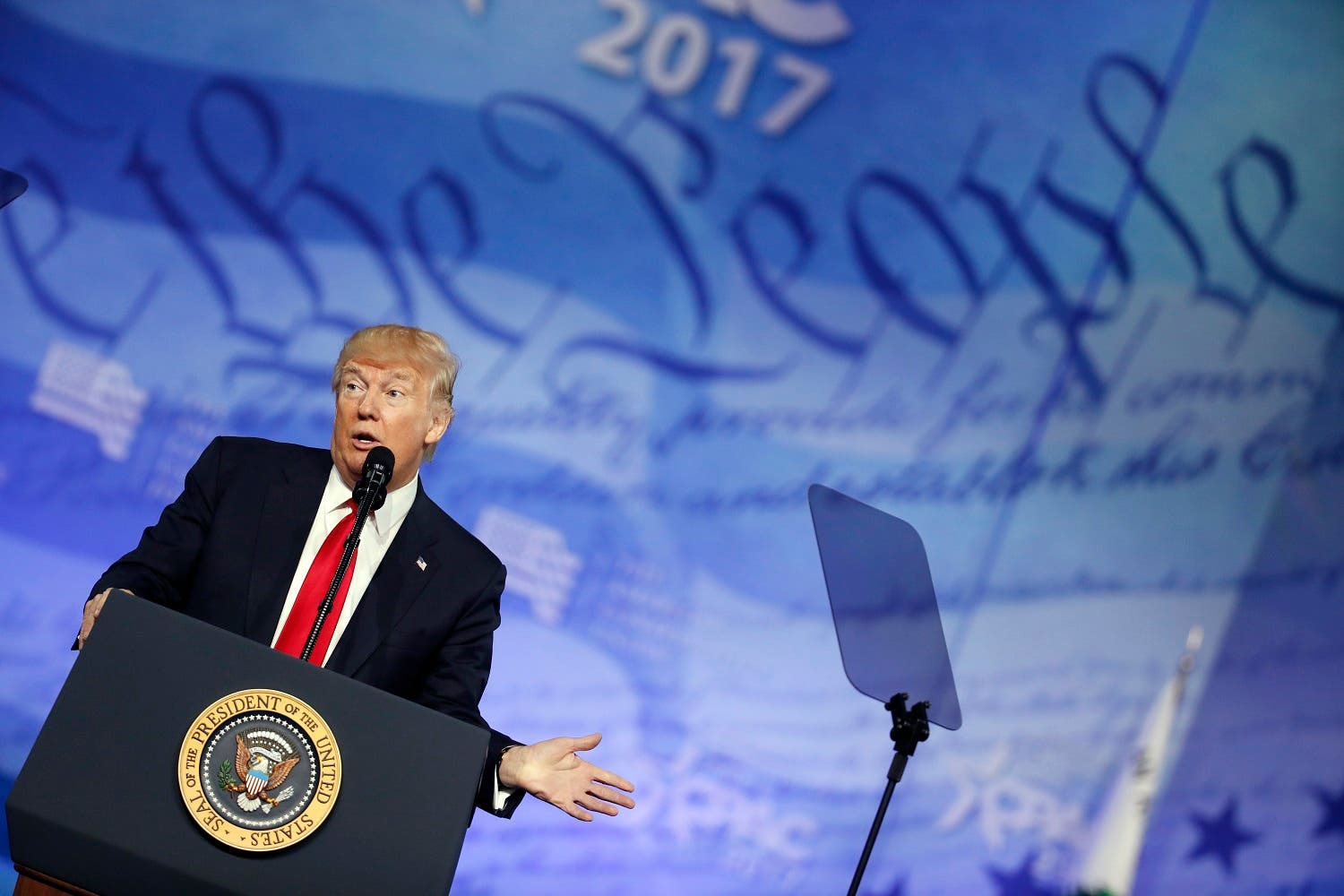President Donald Trump speaks at the Conservative Political Action Conference (CPAC), Friday, Feb. 24, 2017, in Oxon Hill, Md. (AP)