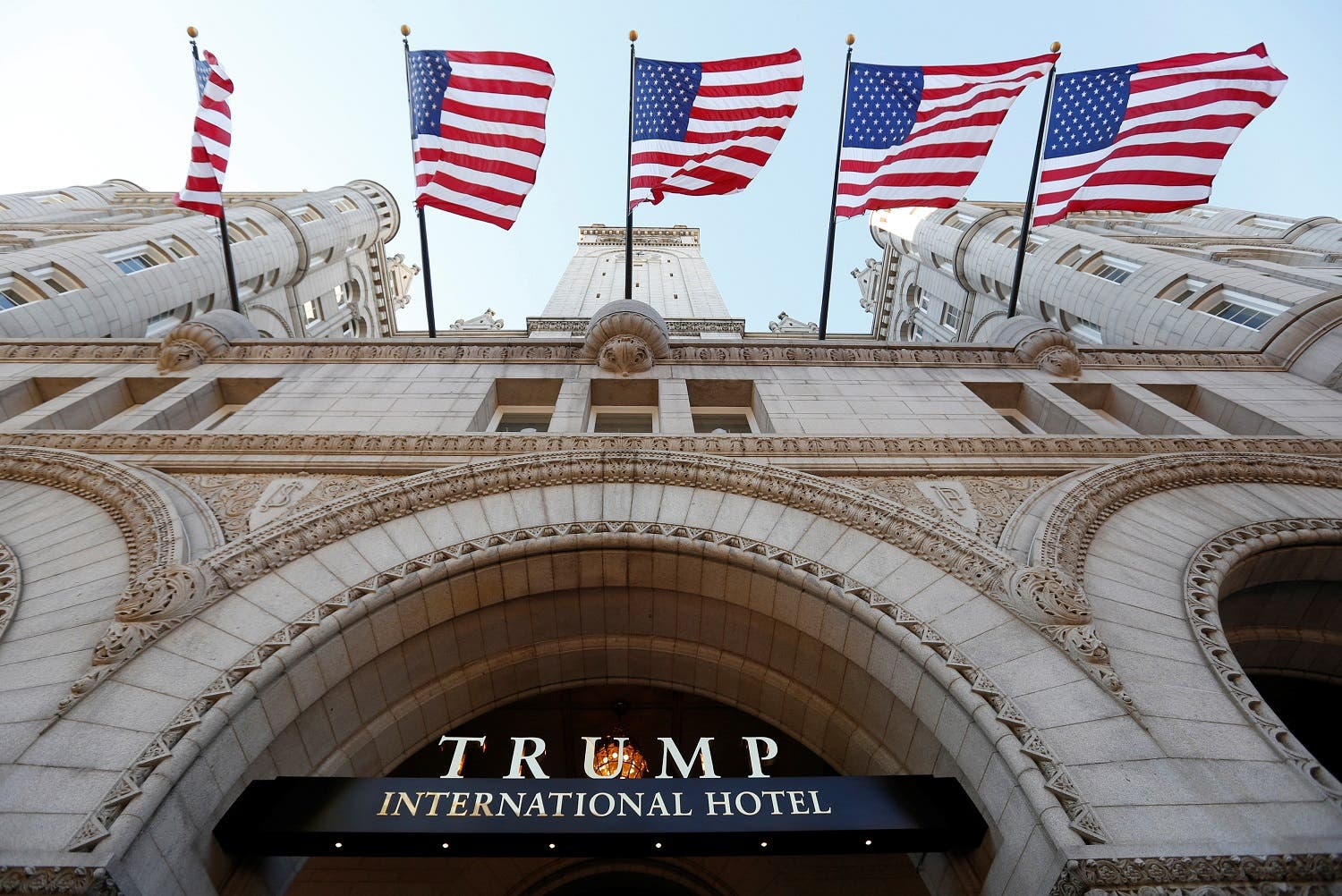 Flags fly above the entrance to Trump International Hotel in Washington, DC. (File photo: Reuters)