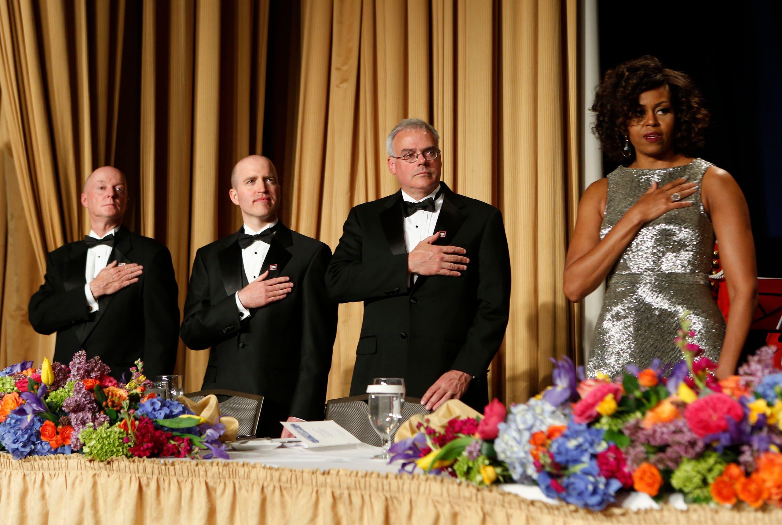 من العشاء السنوي لمراسلي البيت الأبيض عام 2015 الذي حضره الرئيس حينها باراك أوباما