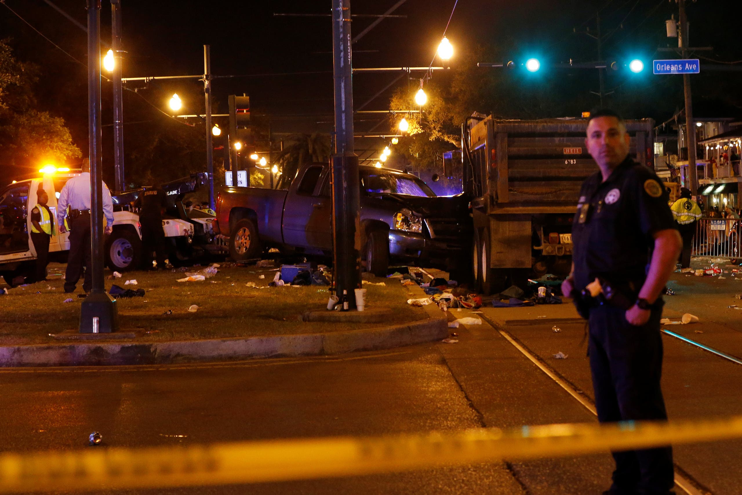 A vehicle is seen crashed along the Endymion parade route at Orleans and Carollton during Mardi Gras in New Orleans, Louisiana U.S., February 25, 2017
