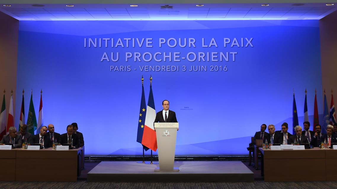 French President Francois Hollande speaks during an interministerial meeting in a bid to revive the Israeli-Palestinian peace process in Paris on June 3 2016