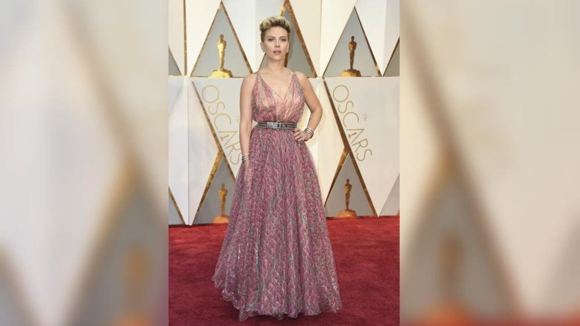 Scarlett Johansson arrives at the Oscars on Sunday, Feb. 26, 2017, at the Dolby Theatre in Los Angeles. AP