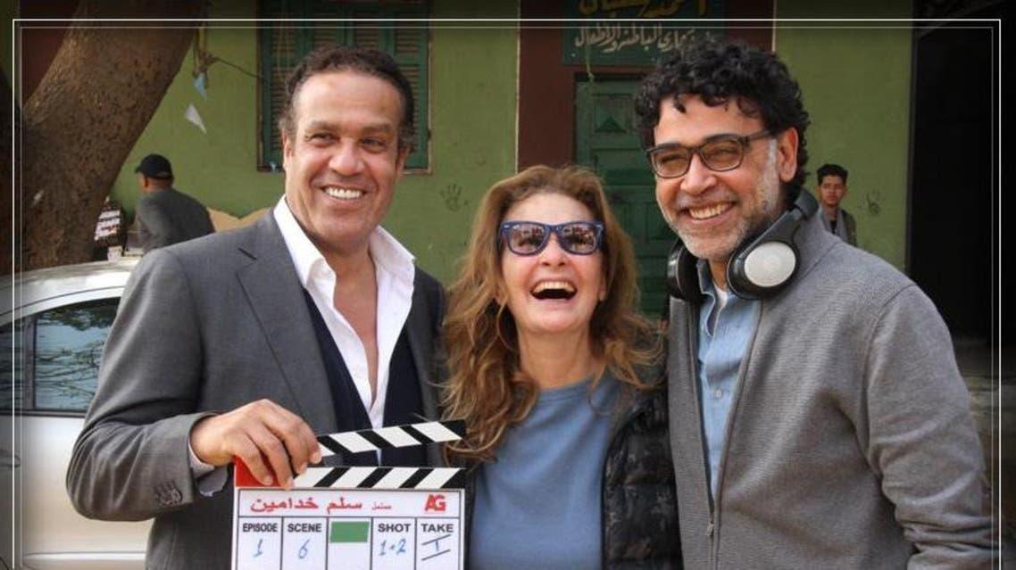 يسرا بصحبة المنتج جمال العدل والمخرج هاني خليفة في أول أيام التصوير