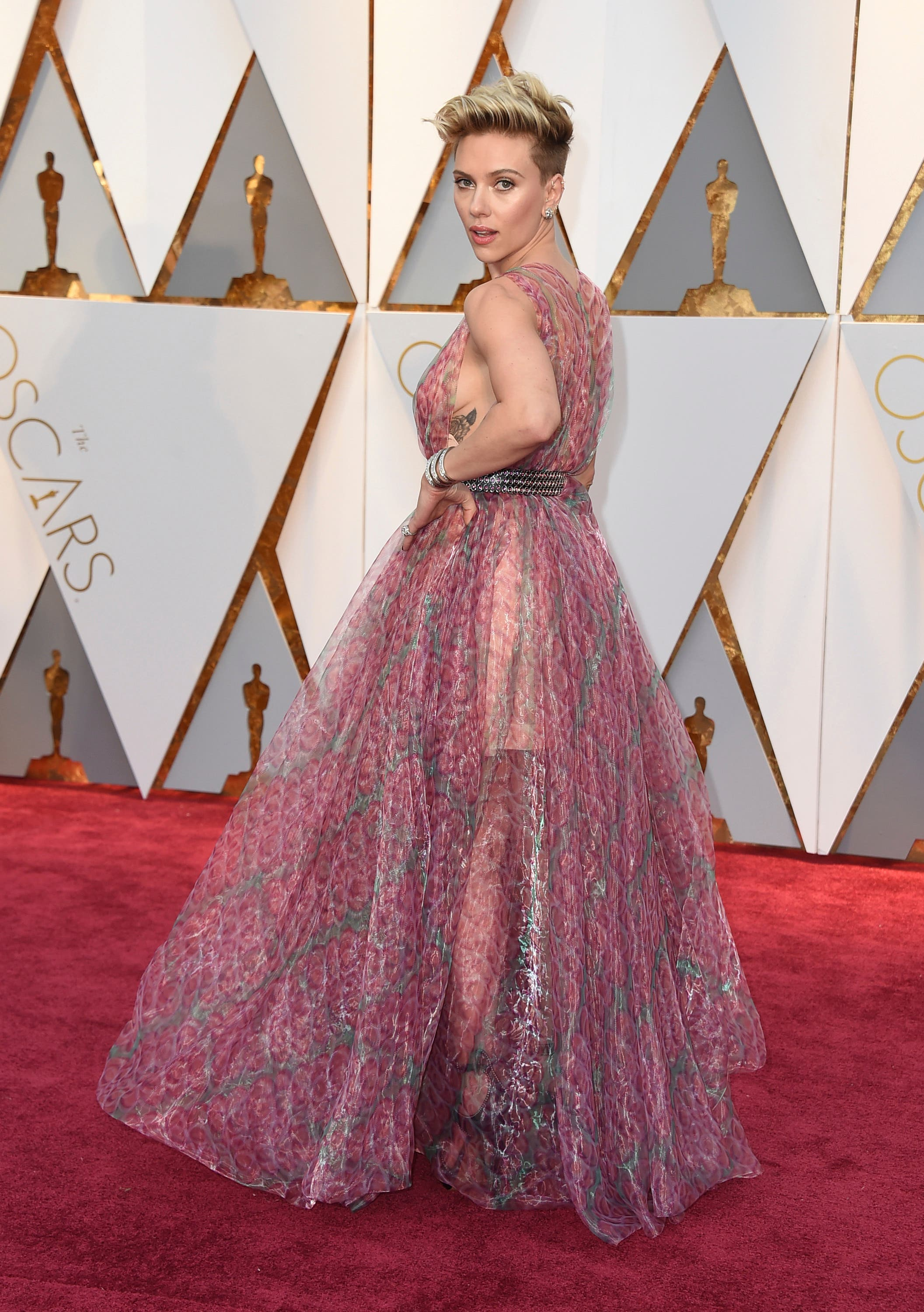 Scarlett Johansson arrives at the Oscars on Sunday, Feb. 26, 2017, at the Dolby Theatre in Los Angeles.