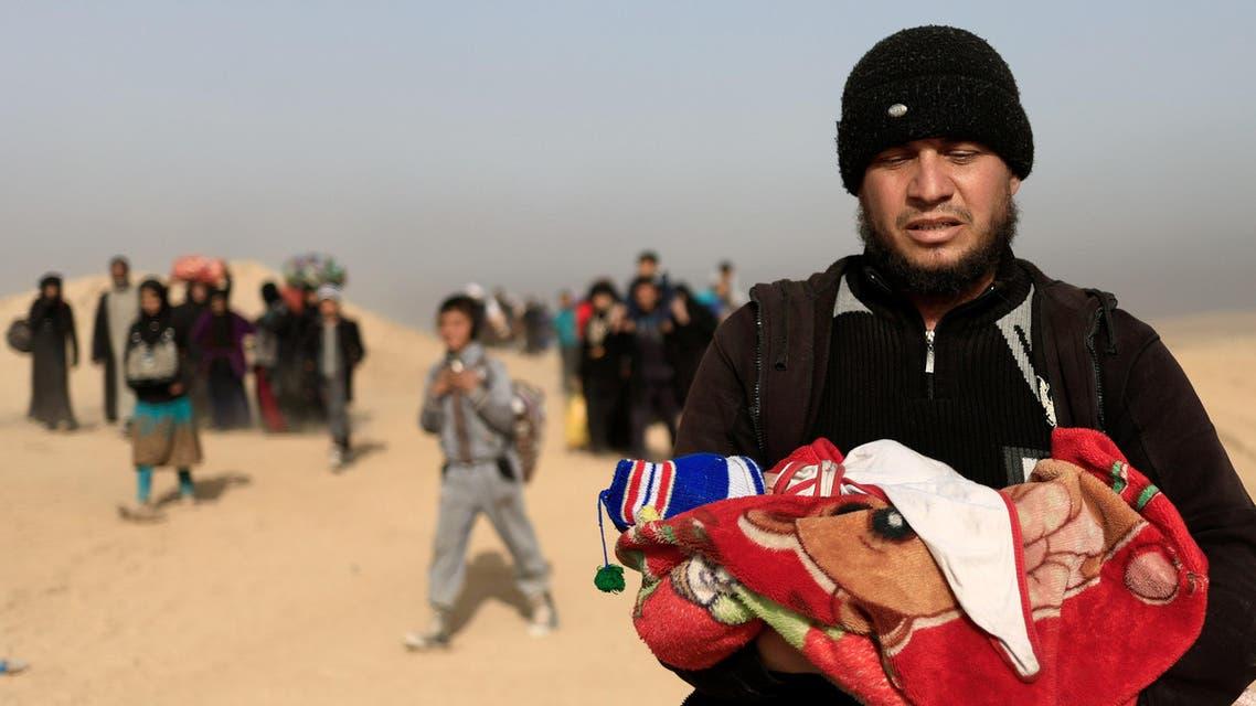 نازحون عراقيون من غرب الموصل