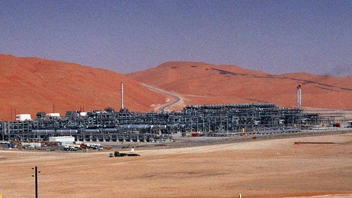 In this Monday, March 8, 2004 file photo, an industrial plant strips natural gas from freshly pumped crude oil is seen at Saudi Aramco's Shaybah oil field at Shaybah in Saudi Arabia's Rub al-Khali desert. (AP)