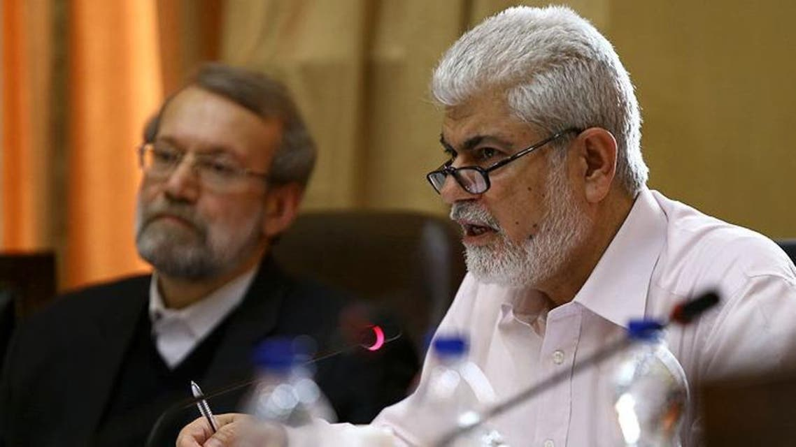 حسینعلی شهریاری نماینده نماینده زاهدان در مجلس ایران در کنار علی لاریجانی رئیس مجلس