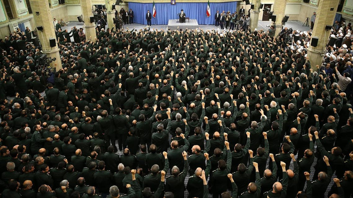 A handout picture released on September 18, 2016 by the official website of the Centre for Preserving and Publishing the Works of Iran's supreme leader Ayatollah Ali Khamenei shows him (C) addressing the commanders of Revolutionary Guards during a meeting in Tehran. (AFP)