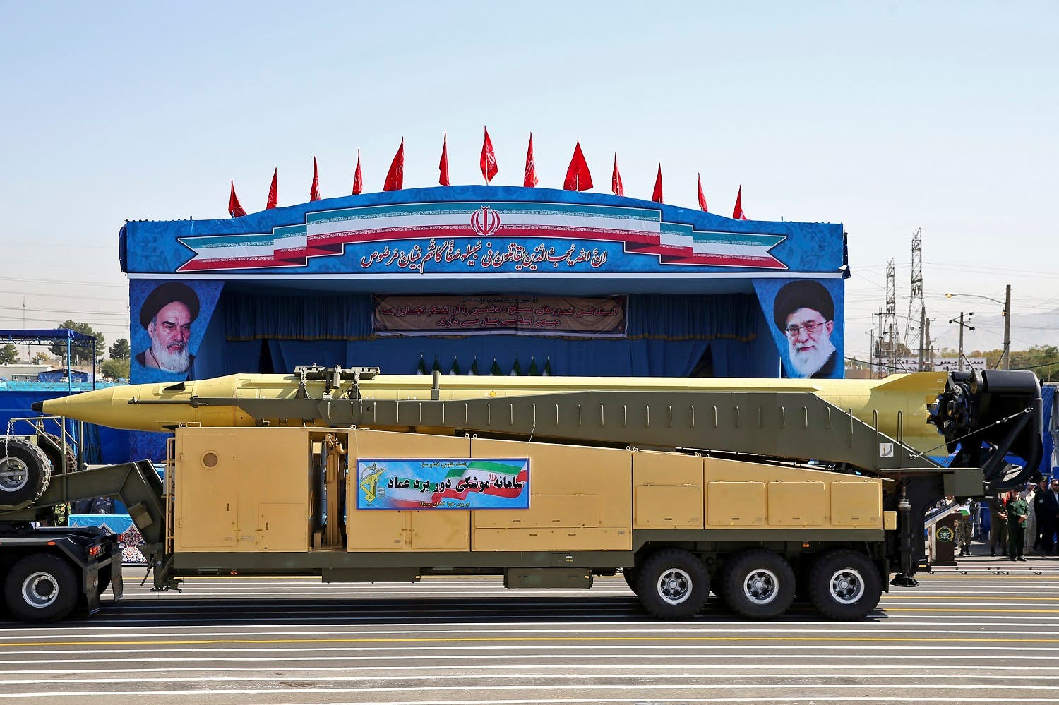 In this Sept. 21, 2016 file photo, an Emad long-range ballistic surface-to-surface missile is displayed by the Revolutionary Guard during a military parade, in front of the shrine of late revolutionary founder Ayatollah Khomeini, just outside Tehran, Iran. (AP)