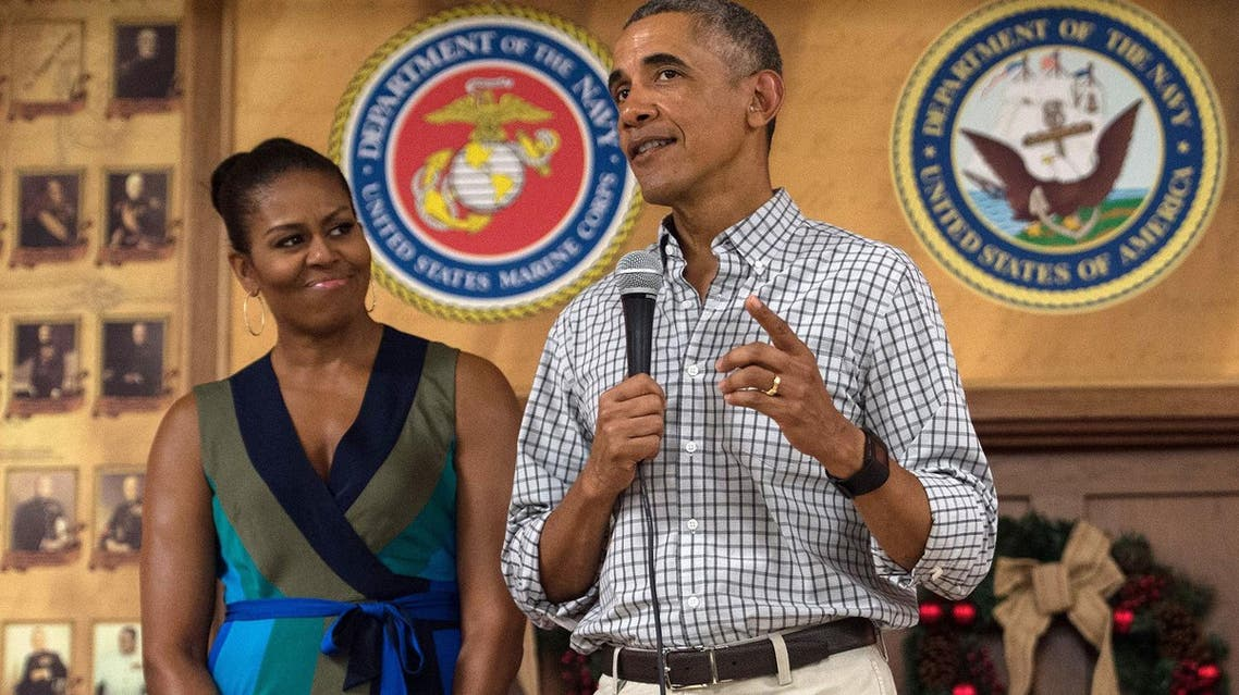Barack Obama with Michelle at Marine Corps Base Hawaii in Kailua on December 25, 2016. (AFP)