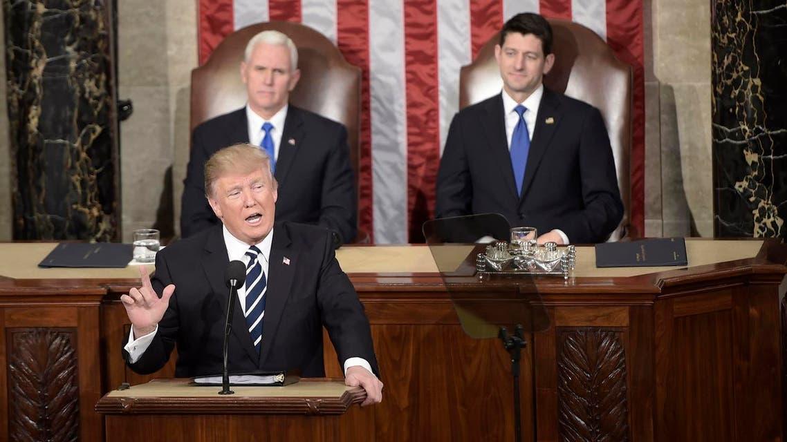 Trump addressing US congress. AFP