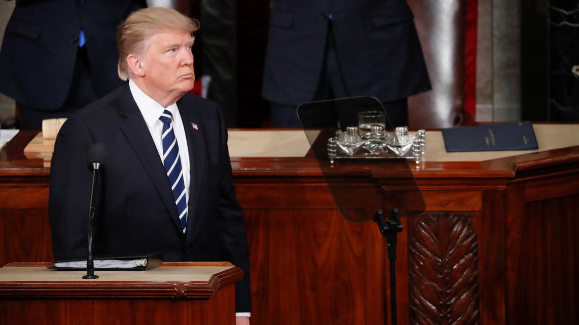 President Donald Trump looks over to his invited guests in the balcony during his address to a joint session of Congress on Capitol Hill in Washington, Tuesday, Feb. 28, 2017. (AP)