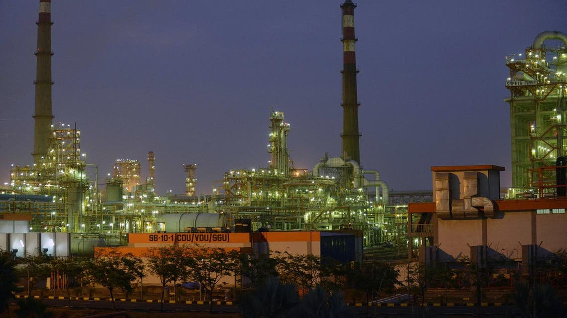 This photograph taken on October 4, 2016 shows an Indian oil refinery belonging to Essar Oil at Vadinar, some 380km from Ahmedabad. (AFP)